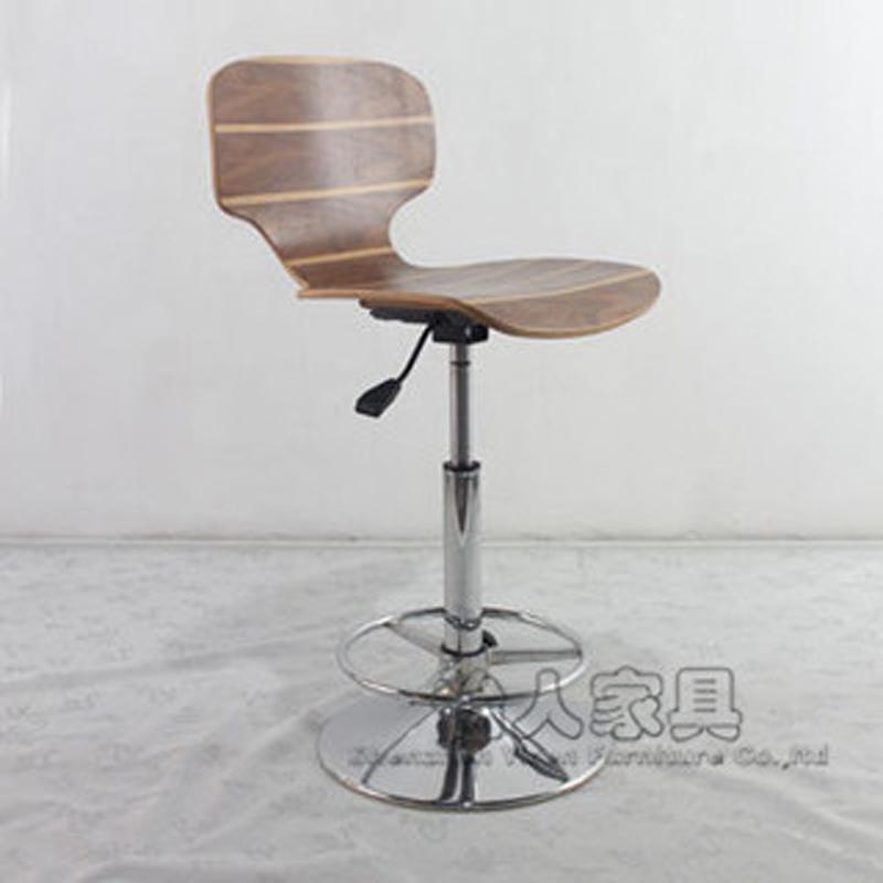 弯曲木板吧椅/酒吧凳/升降酒吧椅/木质酒吧椅/简